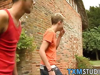 Outdoor gay anal and blowjob foursome with young twinks